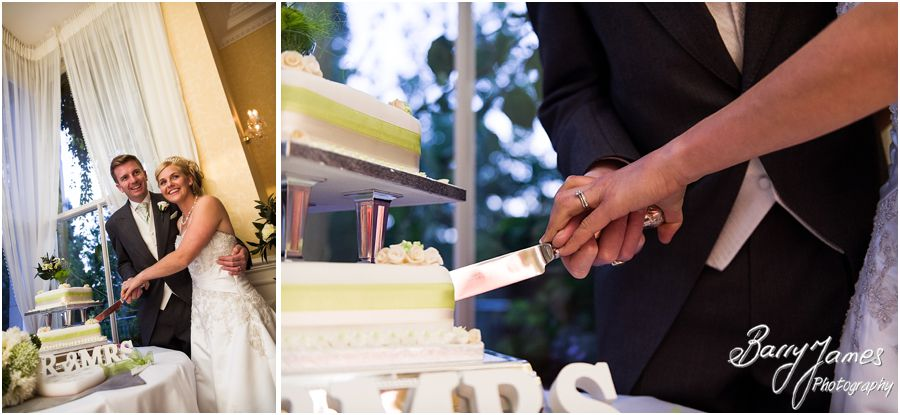 Cake cutting at Rodbaston Hall in Penkridge by Stafford Wedding Photographer Barry James