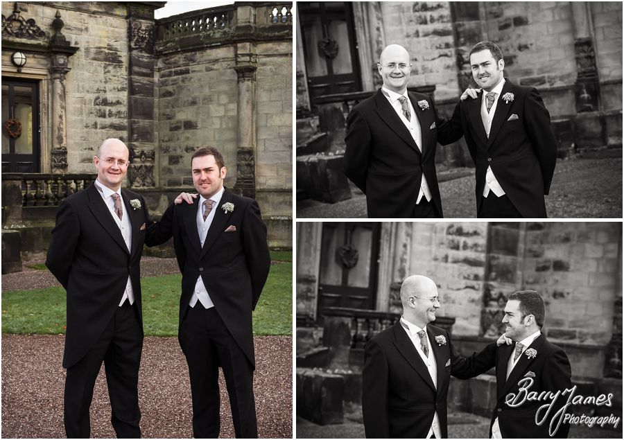 Contemporary relaxed portraits of Grooms before wedding at Sandon Hall in Stafford by Stafford Contemporary Wedding Photographer Barry James