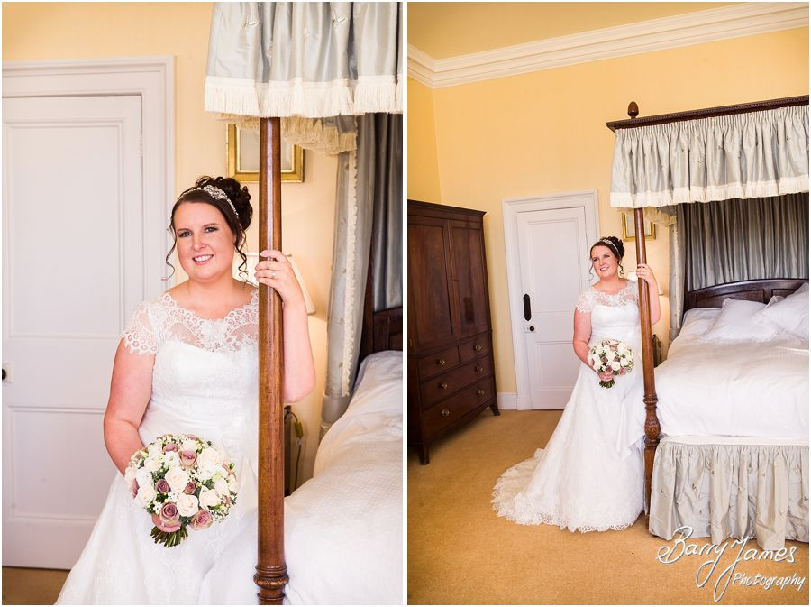 Creative blend of contemporary and candid wedding photographs of Bridal party in bedroom at Sandon Hall in Stafford by Stafford Contemporary Candid Wedding Photographer Barry James
