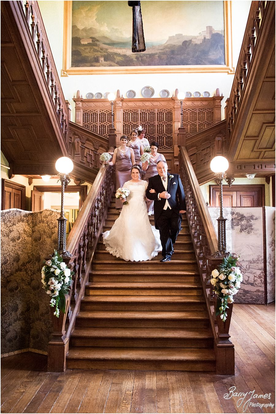 Unobtrusive natural wedding photographs of ceremony in Library at Sandon Hall in Stafford by Stafford Candid Wedding Photographer Barry James