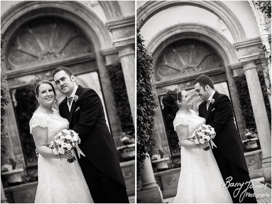 Creative portraits of Bride and Groom in the conservatory at Sandon Hall in Stafford by Stafford Contemporary Wedding Photographer Barry James