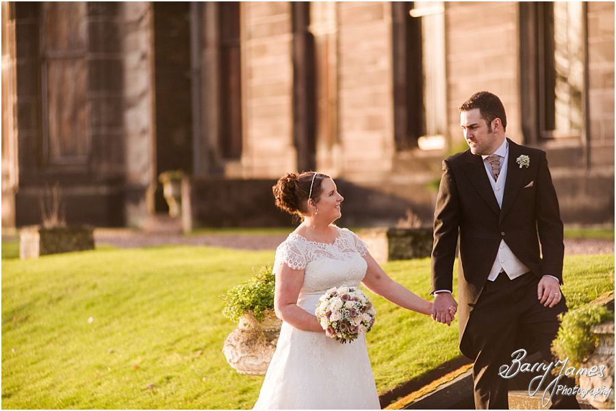 Creative elegant portraits that show the love and emotion of the wedding day at Sandon Hall in Stafford by Recommended Wedding Photographer Barry James