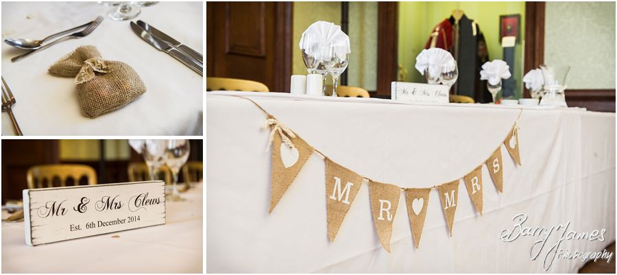 Beautiful simple details for this vintage themed wedding breakfast at Sandon Hall in Stafford by Staffordshire Wedding Photographer Barry James