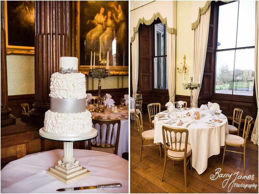 Elegant detailing for vintage themed wedding breakfast at Sandon Hall in Stafford by Staffordshire Wedding Photographer Barry James