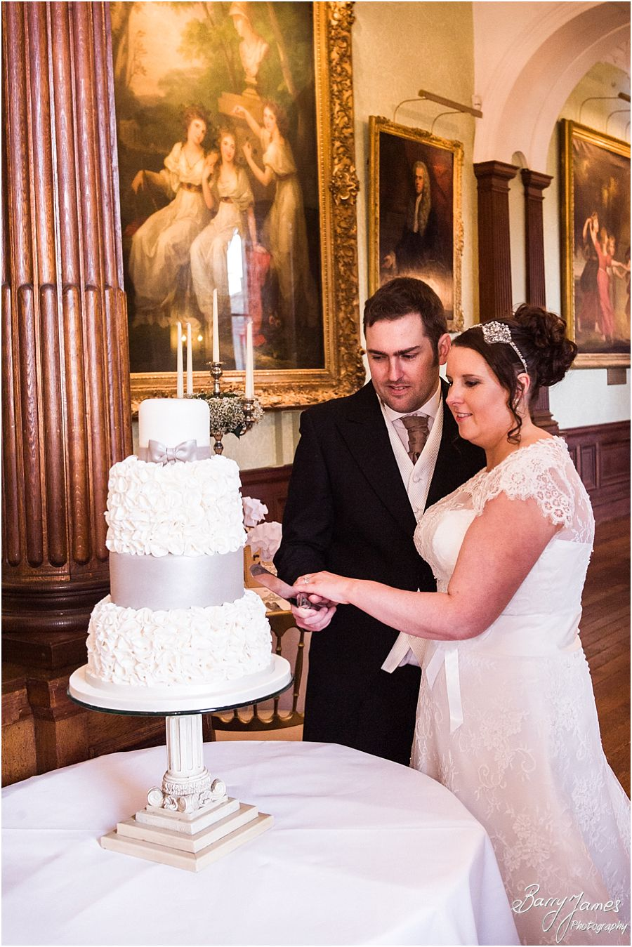 Beautiful wedding cake by Amerton Cakes for wedding at Sandon Hall in Stafford by Staffordshire Wedding Photographer Barry James