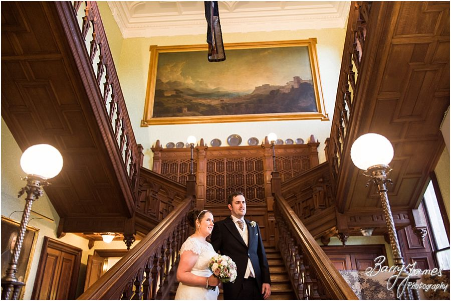 Beautiful portraits on the Grand Staircase at Sandon Hall in Stafford by Stafford Contemporary Wedding Photographer Barry James