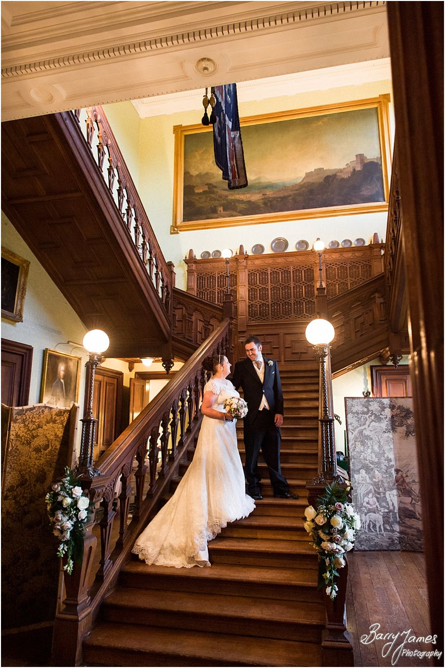 Elegant portraits on the Grand Staircase at Sandon Hall in Stafford by Stafford Recommended Wedding Photographer Barry James
