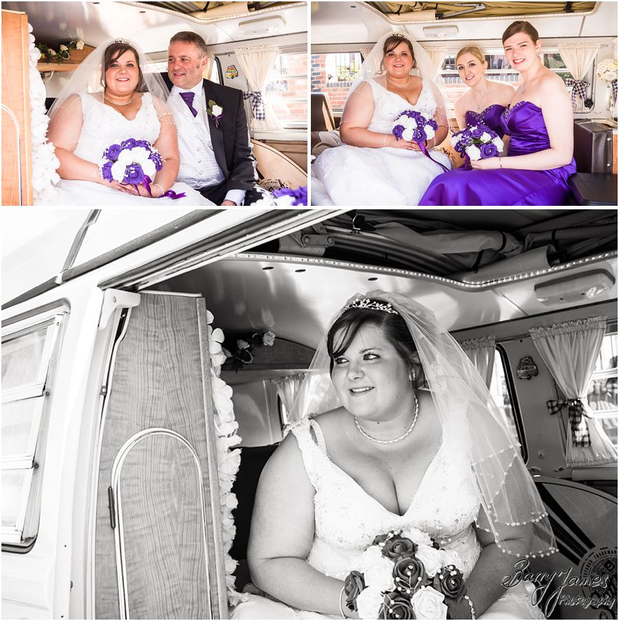 Beautiful wedding transport for Bride at The Waterfront in Barton Marina from Moonstruck VW photographed by Burton-on-Trent Award Winning Wedding Photographer Barry James