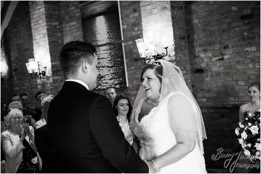 Creative contemporary wedding photographs of the beautiful wedding ceremony at The Waterfront in Barton Marina by Burton-on-Trent Professional Wedding Photographer Barry James