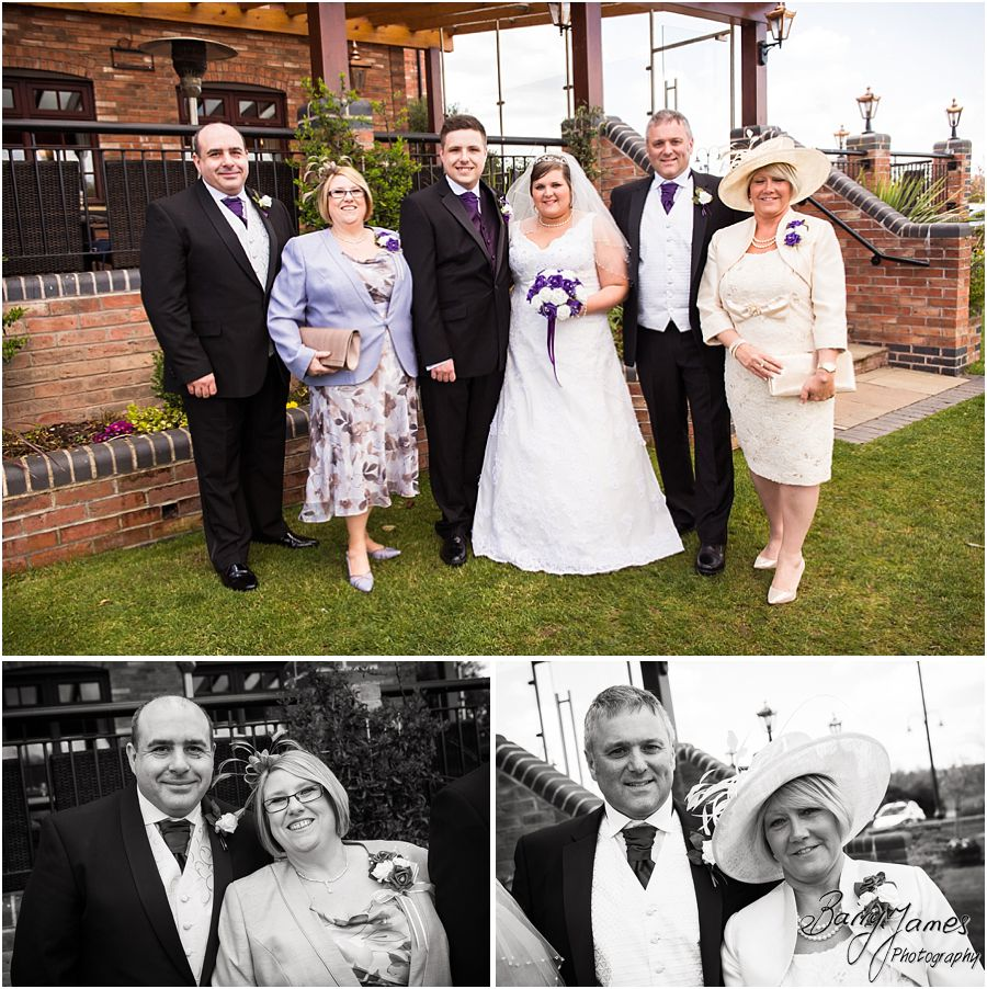 Relaxed family group photos in the grounds at The Waterfront in Barton Marina by Burton-on-Trent Wedding Photographer Barry James