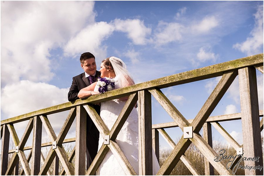 Contemporary portraits of the bride and groom around the fabulous setting surrounding at The Waterfront in Barton Marina by Burton-on-Trent Wedding Photographer Barry James