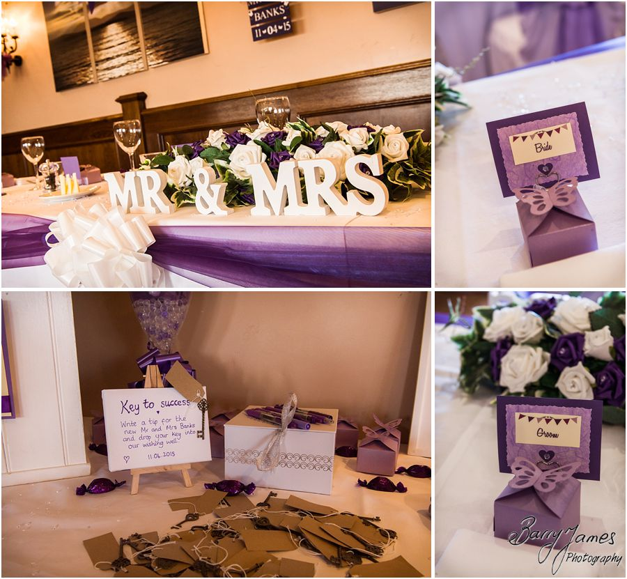 Beautiful setting for wedding breakfast in suite at The Waterfront in Barton Marina by Burton-on-Trent Wedding Photographer Barry James