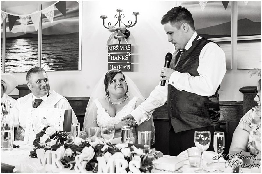 Creative candid photos of the wedding speeches at The Waterfront in Barton Marina by Burton-on-Trent Wedding Photographer Barry James