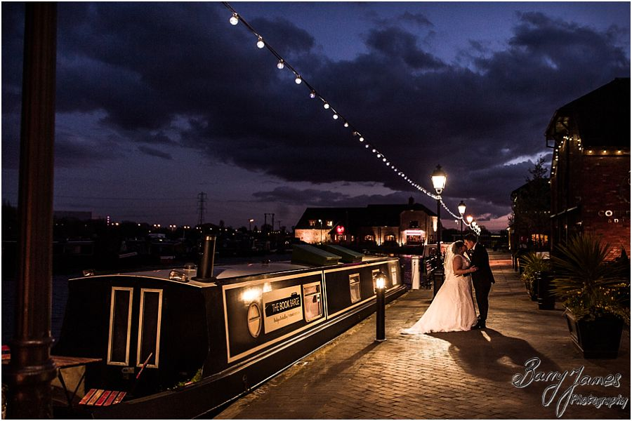 Stunning night time portraits on the waterfront wedding at The Waterfront in Barton Marina by Burton-on-Trent Candid and Contemporary Wedding Photographer Barry James