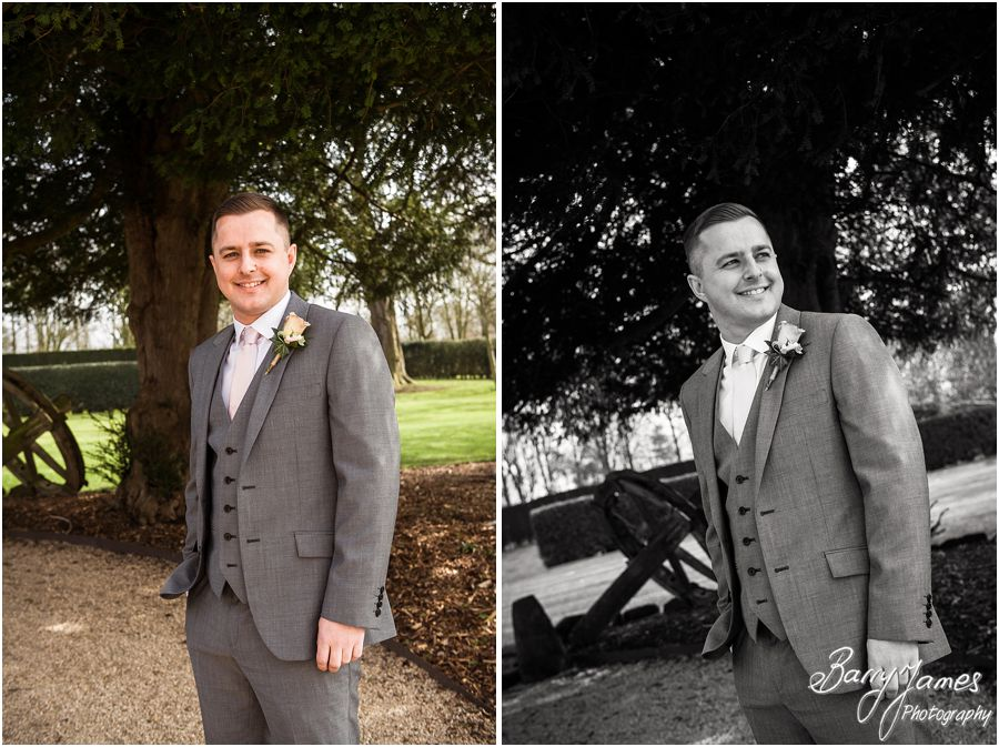 Contemporary portraits of groomsmen at Alrewas Hayes in Burton upon Trent by Contemporary and Creative Wedding Photographer Barry James