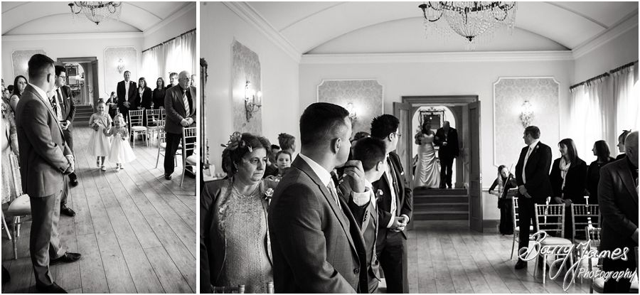 Discreet candid photographs capture the emotion during the wedding ceremony at Alrewas Hayes in Burton upon Trent by Contemporary and Creative Wedding Photographer Barry James