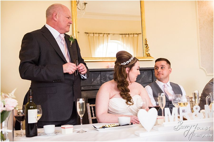Creative candid images of the wedding speeches at Alrewas Hayes in Burton upon Trent by Contemporary and Creative Wedding Photographer Barry James