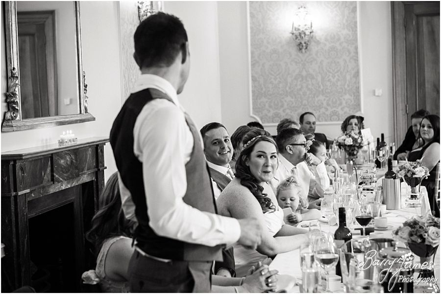 Candid photos of wedding speeches and stunning reactions at Alrewas Hayes in Burton upon Trent by Contemporary and Creative Wedding Photographer Barry James