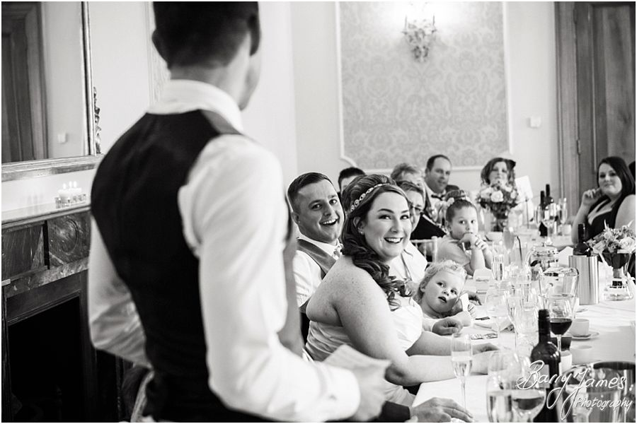 Photos of the wonderful reactions to the speeches at Alrewas Hayes in Burton upon Trent by Contemporary and Creative Wedding Photographer Barry James