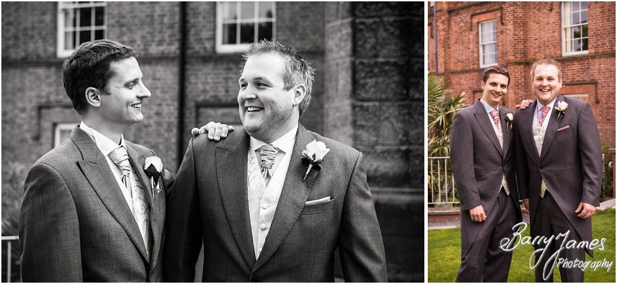 Creative groomsmen portraits at Hawkesyard Estate in Rugeley by Stafford Wedding Photographer Barry James