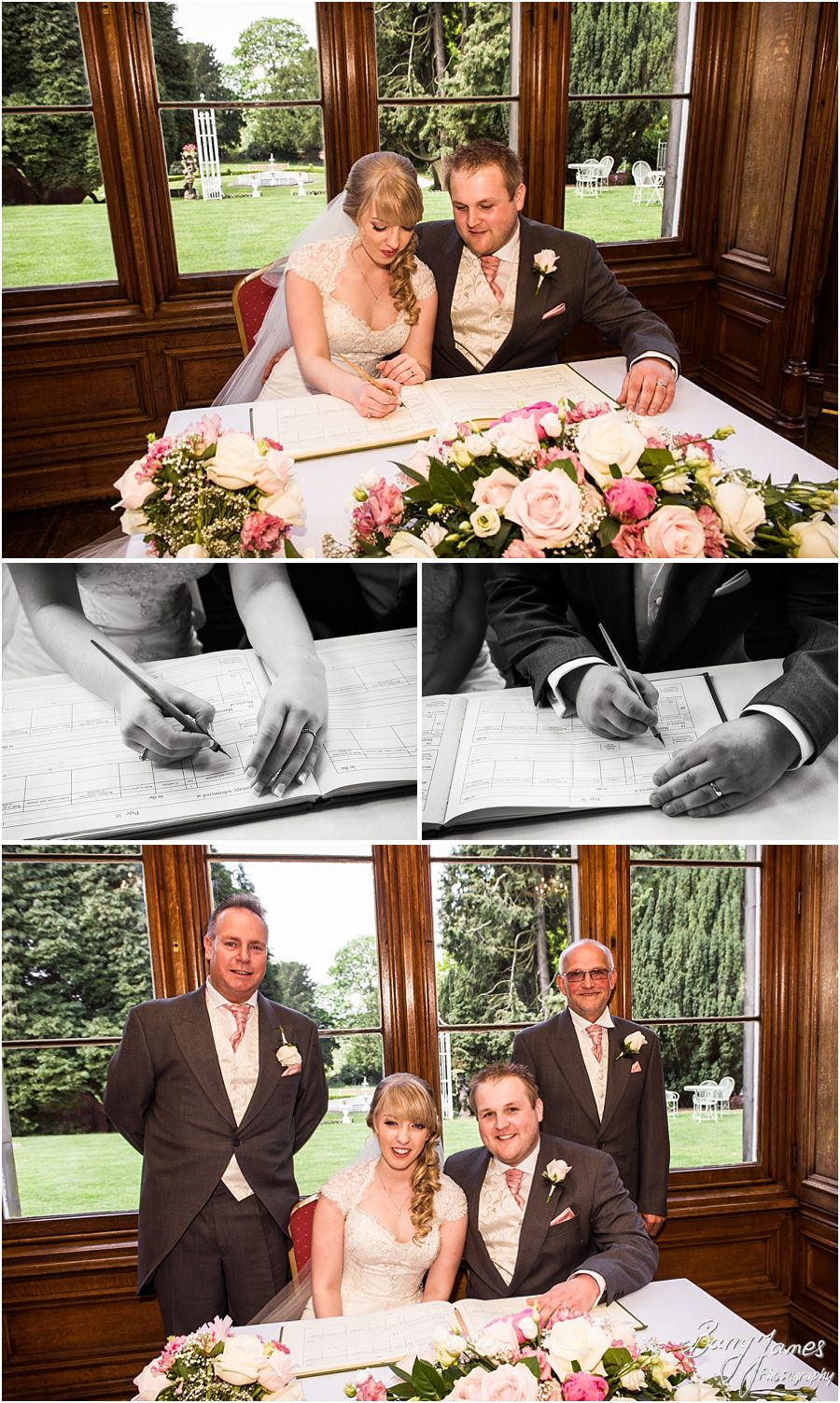 Creative emotional photos of the wedding ceremony at Hawkesyard Estate in Rugeley by Rugeley Award Winning Wedding Photographer Barry James