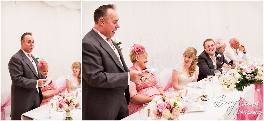 Reactions to emotional father of the bride speech at Hawkesyard Hall in Rugeley by Venue Recommended Wedding Photographer Barry James