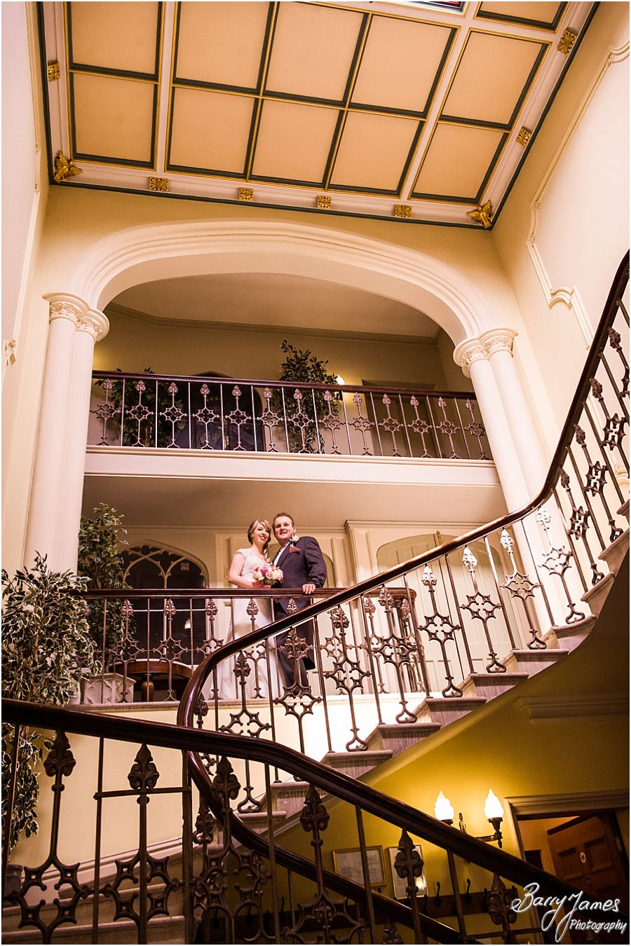 Stunning intimate portraits in the beautiful staircase at Hawkesyard Hall in Rugeley by Venue Recommended Wedding Photographer Barry James