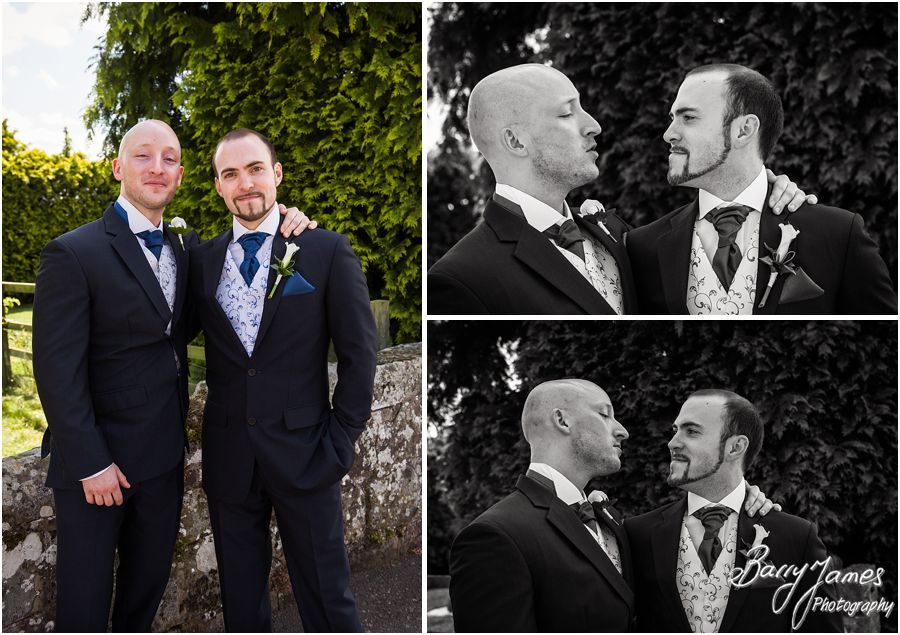 Creative contemporary photos of groomsmen at Albright Hussey Manor in Shrewsbury by Contemporary Wedding Photographer Barry James