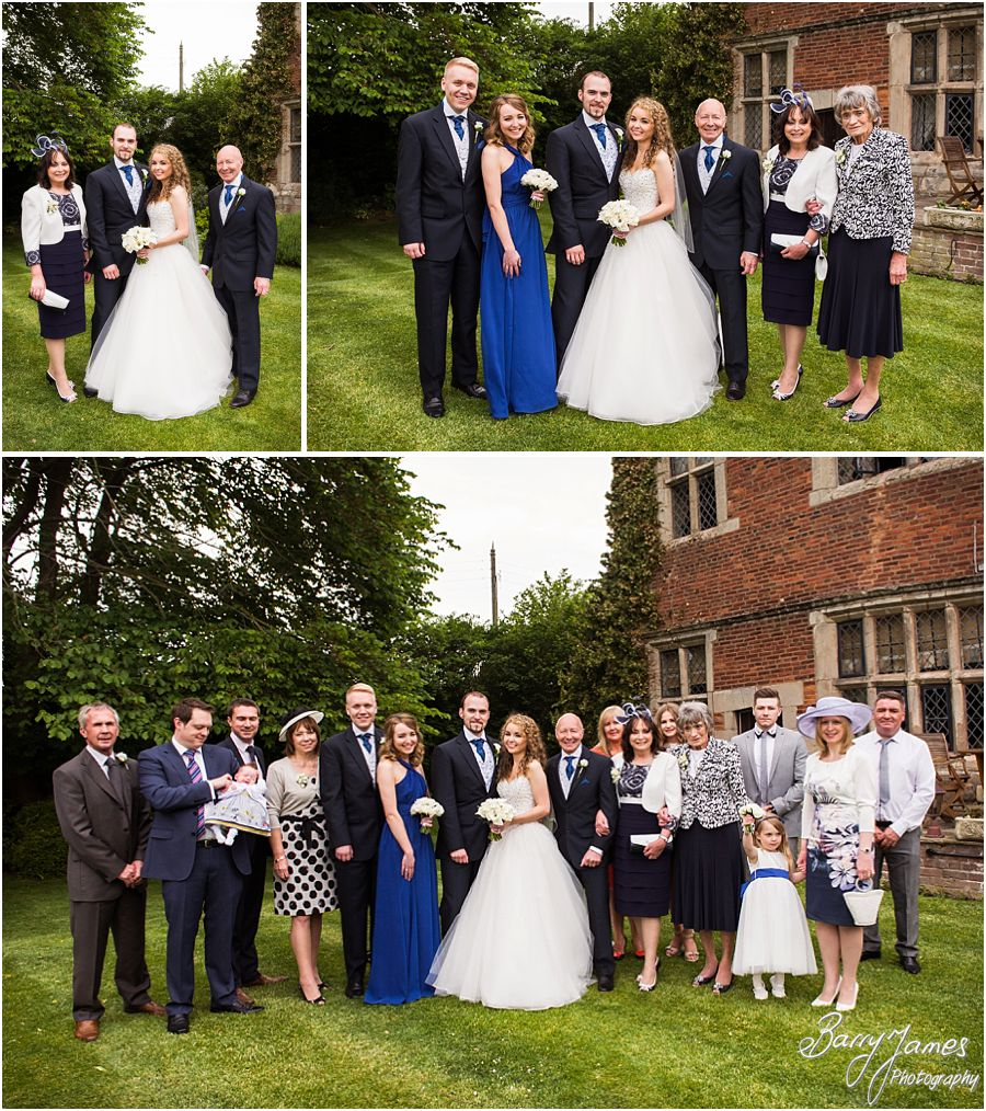 Relaxed family photographs on the lawns at Albright Hussey Manor in Shrewsbury by Contemporary Wedding Photographer Barry James