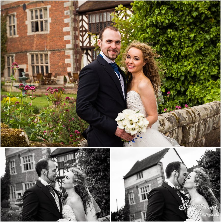 Natural intimate portraits of the newly wed couple around the wonderful setting at Albright Hussey Manor in Shrewsbury by Contemporary Wedding Photographer Barry James