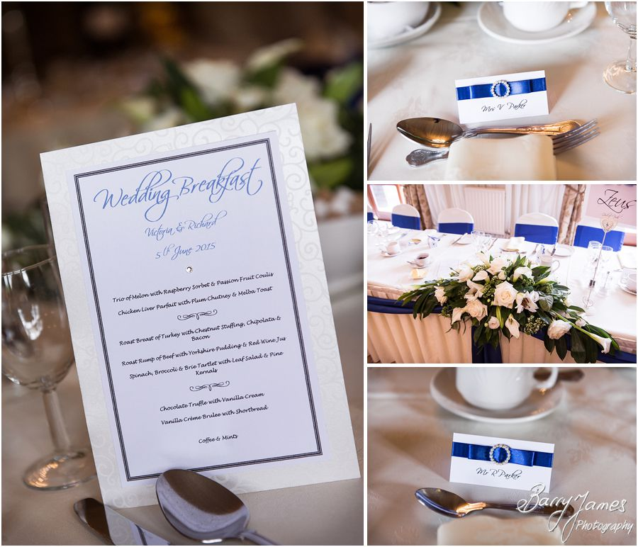 Wonderful room set for wedding breakfast at Albright Hussey Manor in Shrewsbury by Contemporary Wedding Photographer Barry James
