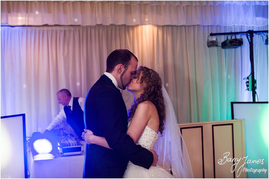 Fun lively photos of the first dance at Albright Hussey Manor in Shrewsbury by Contemporary Wedding Photographer Barry James