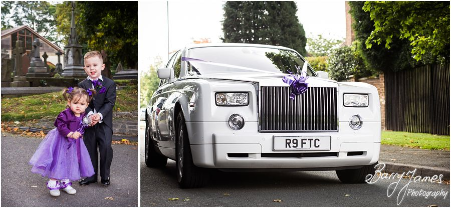 Contemporary photographs of the bridal party arrival at Rushall Parish Church in Walsall by Walsall Wedding Photographer Barry James