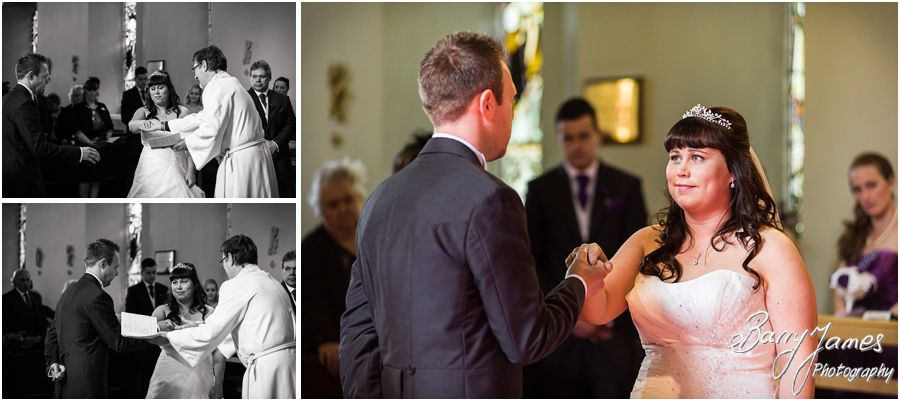 Unobtrusive photographs of the Bridal entrance to her waiting groom at Rushall Parish Church in Walsall by Walsall Wedding Photographer Barry James