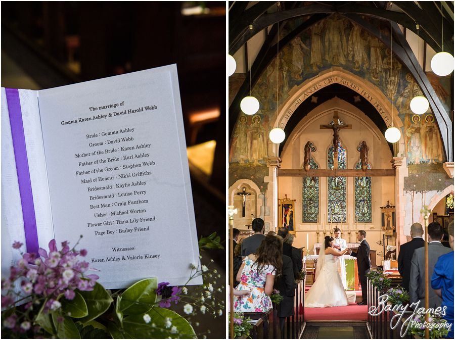 Unobtrusive photographs of the beautiful ceremony at Rushall Parish Church in Walsall by Walsall Wedding Photographer Barry James