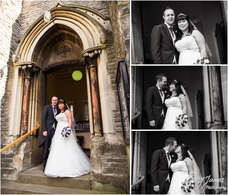 Capturing the excited processional photos at Rushall Parish Church in Walsall by Walsall Wedding Photographer Barry James