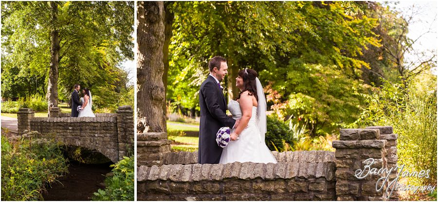 Elegant natural portraits of the bride and groom around the wonderful setting of Walsall Arboretum in Walsall by Walsall Wedding Photographer Barry James