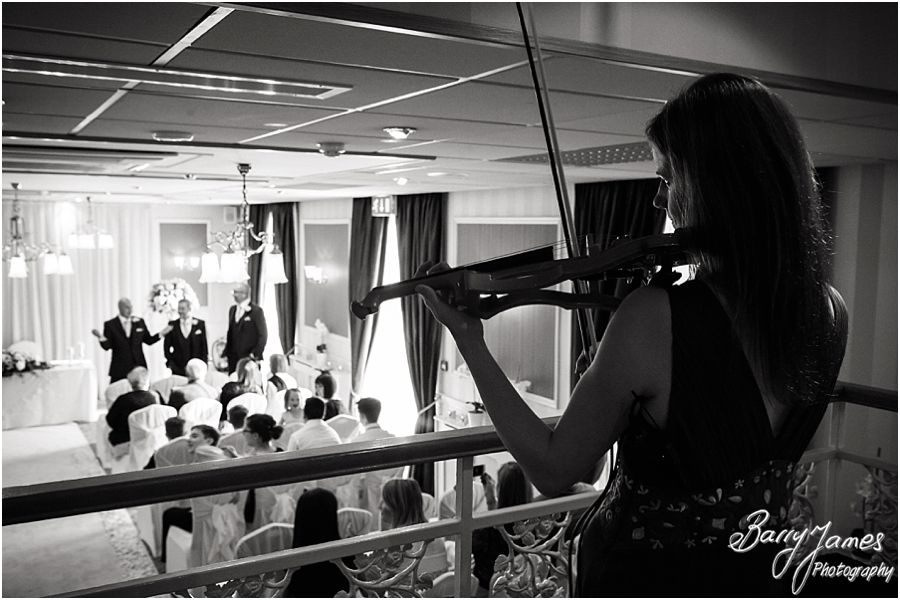 Live music for bridal entrance at The Fairlawns in Walsall by Fairlawns Wedding Photographer Barry James