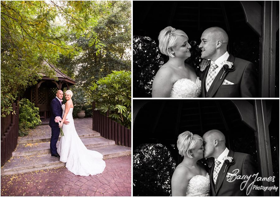 Creative photos of the bride and groom at The Fairlawns in Walsall by Fairlawns Wedding Photographer Barry James