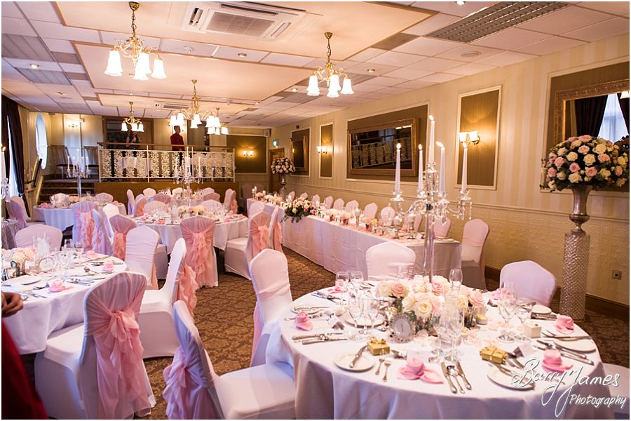 Beautiful wedding breakfast setting at The Fairlawns in Walsall by Fairlawns Wedding Photographer Barry James