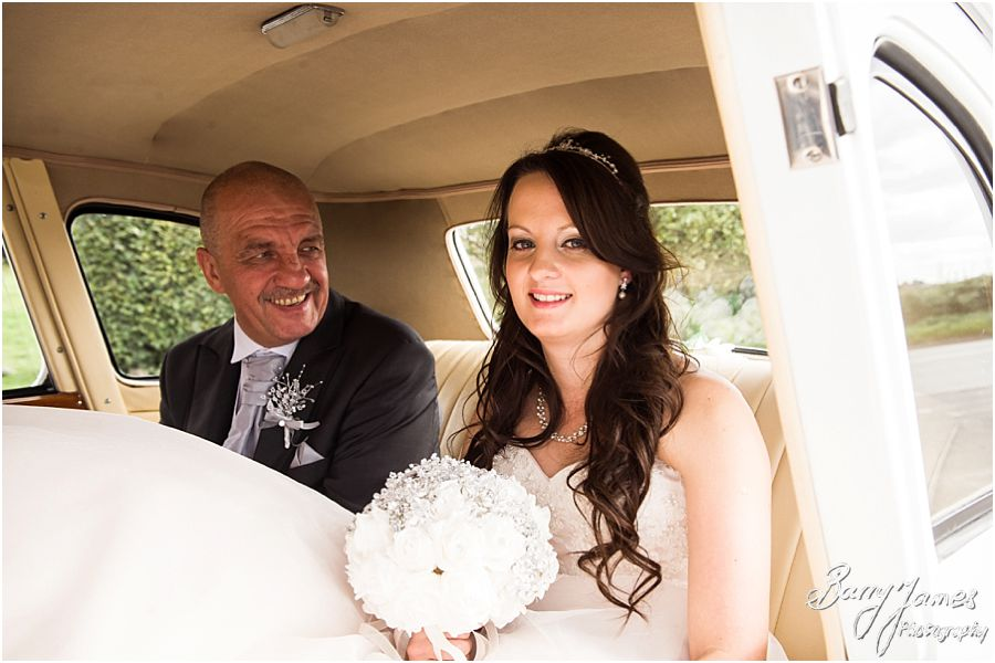 Capturing the arrival of the beautiful bride and her father chauffeured by Platinum Cars at Oak Farm in Cannock by Cannock Wedding Photographer Barry James