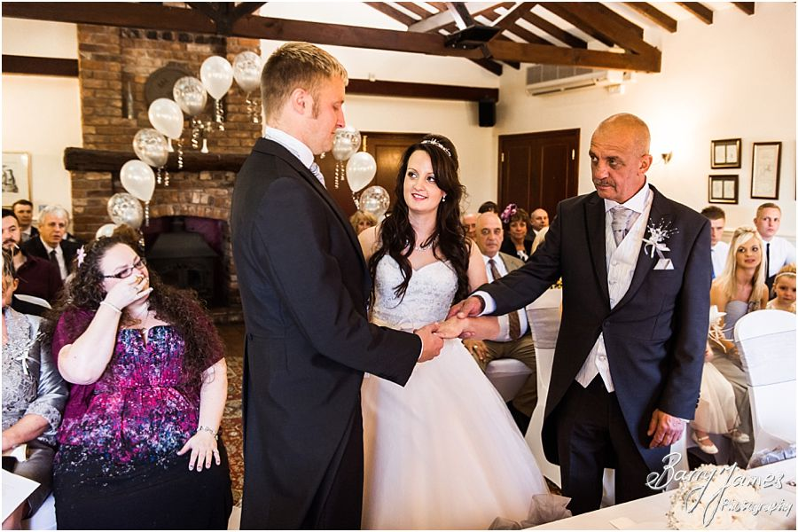 Capturing the emotional entrance of the bride at Oak Farm in Cannock by Cannock Wedding Photographer Barry James