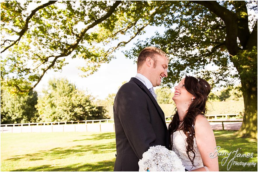 Intimate and relaxed portraits in the paddock at Oak Farm in Cannock by Cannock Wedding Photographer Barry James