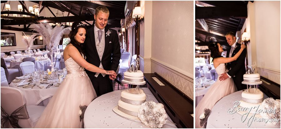 Beautiful wedding cake by The Cake Company at Oak Farm in Cannock by Cannock Wedding Photographer Barry James