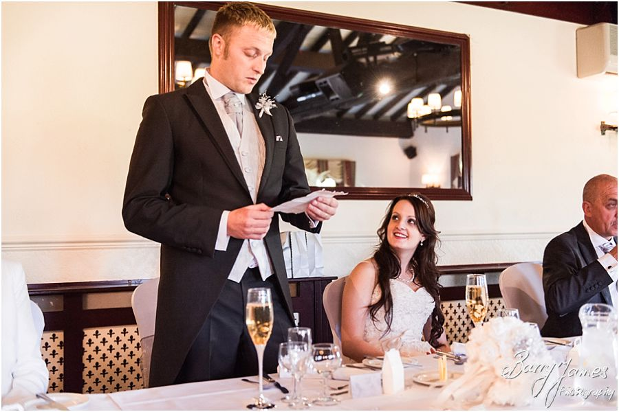 Creative candid photographs of the speeches at Oak Farm in Cannock by Cannock Wedding Photographer Barry James