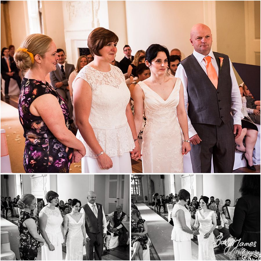 Photographing the beautiful entrance of the bride showing the emotion and feeling at Clearwell Castle in Gloucestershire by Gloucester Wedding Photographer Barry James