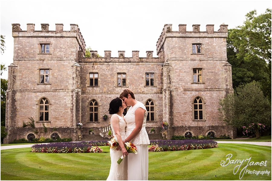 Beautiful photographs of the brides with the castle as the backdrop at Clearwell Castle in Gloucestershire by Gloucester Wedding Photographer Barry James