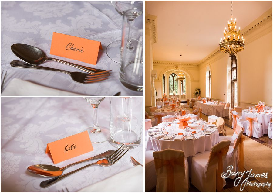 Beautiful styling and personal touches for the wedding breakfast at Clearwell Castle in Gloucestershire by Gloucester Wedding Photographer Barry James
