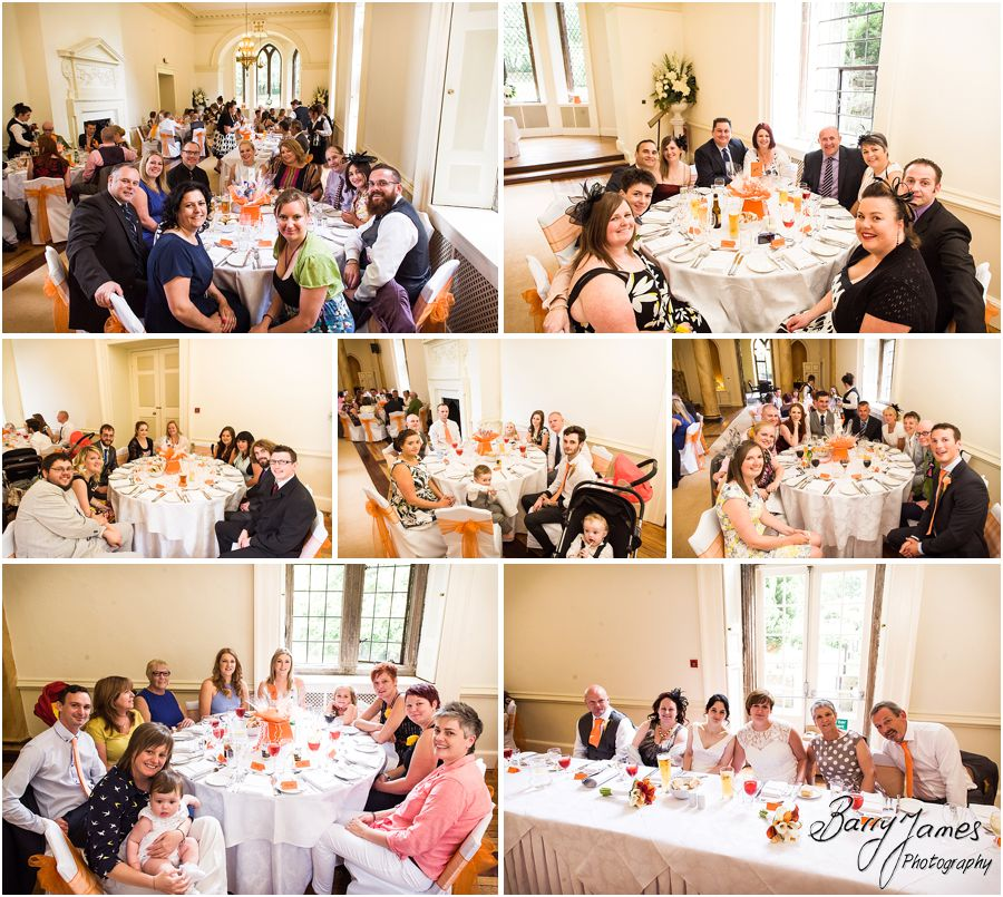 Candid photographs of the tables before the wedding breakfast at Clearwell Castle in Gloucestershire by Gloucester Wedding Photographer Barry James