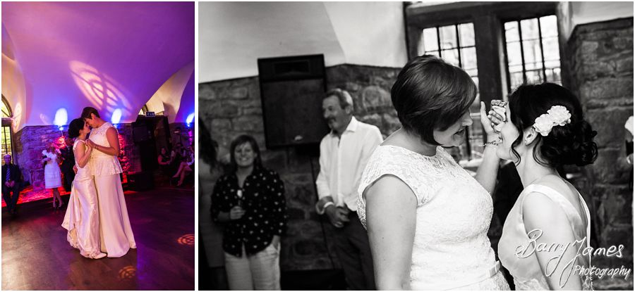 Fun photographs during the beautiful first dance at Clearwell Castle in Gloucestershire by Gloucester Wedding Photographer Barry James